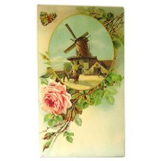 Salesmans Sample Promotional Calendar Art With Windmill Scene - Vintage Ephemera - Advertising Art - German Print
