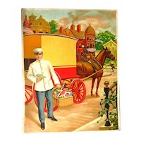 REDUCED Salesmans Sample Art For Promotional Calendar - Grocery Delivery Man Scene - Advertising Art