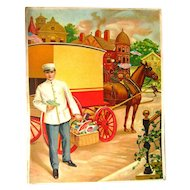 Salesmans Sample Art For Promotional Calendar - Grocery Delivery Man Scene - Advertising Art