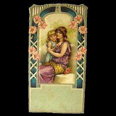 Calendar Art Mother And Daughter Scene - Vintage Salesman Sample Art Print - German Art - Vintage Ephemera