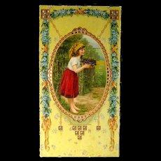 Art Nouveau Flower Girl Calendar Art - German Print - Advertising Art - Vintage Ephemera