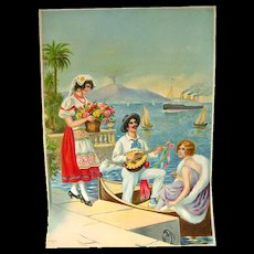 Travel Scene Wall Calendar Art Print - Printed in Germany - Vintage Ephemera - Salesman Sample Promotional Artwork - Advertising Art