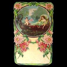 Vintage Calendar Embossed Cupid Print - German Art Print - Salesman Sample Calendar