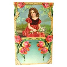 REDUCED Child With Flowers Art Print - German Print - Salesman Sample Calendar Art
