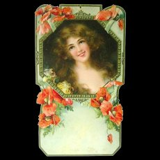 Art Nouveau Die Cut Calendar With Woman And Poppies - Vintage Ephemera - Embossed Calendar Art