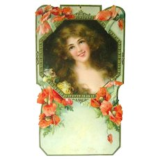 Art Nouveau Die Cut Calendar With Woman And Poppies - Vintage Ephemera - Embossed Calendar Art