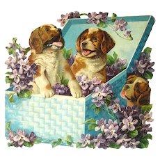 Die Cut Puppy Calendar Art Print - Vintage Ephemera - Embossed Calendar Art
