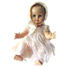 Madame Alexander Kathy Cry Baby Doll With Lacy Bonnet and Dress - Vinyl Babydoll - Sleepy Eye Doll