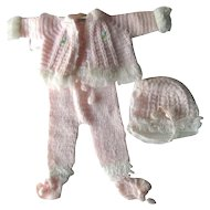 Original Effanbee Doll Outfit for 18 to 20 Inch Baby Doll Hand Made Sweater Outfit For Vintage Doll