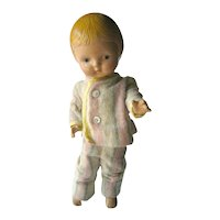 Composition Doll 11 Inches Patsy Jr Look Alike With Striped Pajamas - Doll Collector 1940s Vintage Composition Dolls