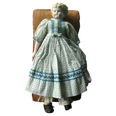 German Pet Name China Head Doll Pauline by Hertwig & Co Blonde Low Brow Chinahead Doll In Beautiful Dress