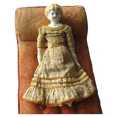 German 11 Inch Doll Dorothy Pet Name Made in Germany by Hertwig & Co Low Brow Blonde China Head Doll With Full Dress
