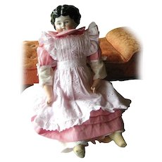 Pet Name China Head Doll ETHEL With Jointed Leather Body and Beautiful Pinafore Outfit German Hertwig Low Brow Antique Doll