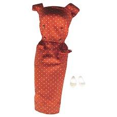 Barbie Polka Dot Sheath Dress Rust Color With White Shoes - Vintage Barbie Outfit - Fashion Pak 1962 to 1963