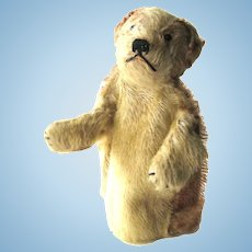 Steiff Dog Puppet Mohair With Glass Button Eyes