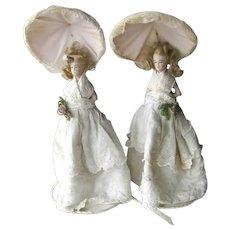 Vintage Pair of Half Doll Boudoir Lamps - Chalk-ware Half Dolls