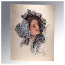 Harrison Fisher 1909 Vintage Print Lady in Bonnet Home Decor Victorian Print