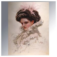 Harrison Fisher 1909 Vintage Print Victorian Lady in Lacy Gown Home Decor Victorian Print