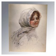 Harrison Fisher 1909 Vintage Print Victorian Girl in Scarf Home Decor Victorian Print