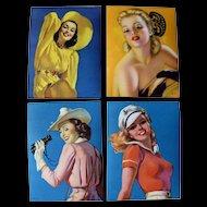 Original 1950s Pin Up Girl Gum Labels Set Of Four
