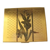 Vintage Daffodil Compact By Elgin American 1950s / Vanity Item / Purse Accessory / Bridesmaid Gift
