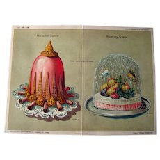 Antique German Decorative Cake Print by George Ritzer / Home Decor / Wall Hanging / Antique Illustration / Pastry / Cake Illustration