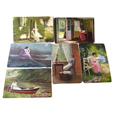 Lot of Women Artwork German Postcards / Vintage Ephemera / Artist Signed Post Cards
