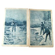 Lot of Two Russian Postcards Fishing Themed / Vintage Ephemera / Artist Signed Post Cards