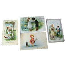 Lot of Four Children Illustrated Postcards / vintage Post Cards / Vintage Ephemera / Birthday Postcard