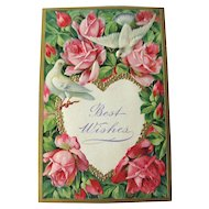 Roses and Doves Best Wishes Embossed Postcard Made in Germany - Embossed Postcard - Vintage Post Card - Vintage Ephemera