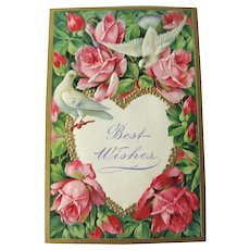 Roses and Doves Best Wishes Embossed Postcard Made in Germany - Embossed Postcard - Vintage Post Card - Vintage Ephemera