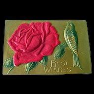 Applied Satin Rose Gilded Postcard - Heavily Embossed Post Card With Bird - Vintage Ephemera