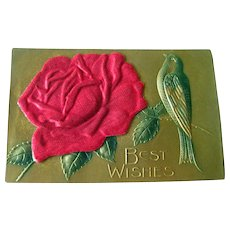 Applied Satin Rose Gilded Postcard - Heavily Embossed Post Card With Bird - Vintage Ephemera