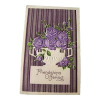 Friendship Postcard With Purple Metalic Background and Purple Roses - Vintage Ephemera - Friendship Post Card - Embossed Postcard