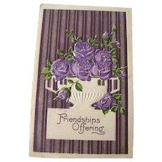 Friendship Postcard With Purple Metalic Background and Purple Roses - Vintage Ephemera - Friendship Post Card - Embossed Postcard