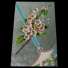 Easter Silver Embossed Postcard With Bunny Rabbit and Cherry Blossoms - Vintage Ephemera - Easter Post Card - 1910 Postcard