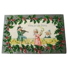 Christmas Embossed and Silver Postcard With Dancing Couple   - Vintage Ephemera - Christmas Post Card - German Postcard