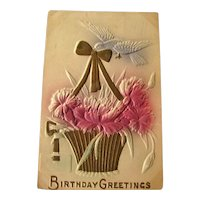 Birthday Greetings Embossed Postcard Gilded Basket - Vintage Ephemera - Birthday Postcard