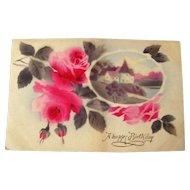 German Happy Birthday Postcard With Air Brushed Scene and Roses - Vintage Ephemera - Birthday Postcard