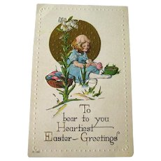 Easter Child Embossed Postcard With Lilies  - Vintage Ephemera - Easter Post Card