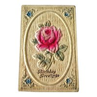 Birthday Heavily Embossed Postcard Rose - Vintage Ephemera - Birthday Post Card