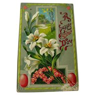 Easter Gel Embossed Postcard With Lilies J and B Co - Vintage Ephemera - Easter Post Card - Saxony Postcard