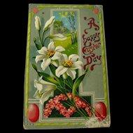 Easter Gel Embossed Postcard With Lilies J and B Co - Vintage Ephemera - Easter Post Card - Saxony Postcard