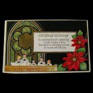 Christmas Embossed Postcard With Pointsettia and Chior  - Vintage Ephemera - Christmas Post Card
