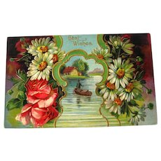 Best Wishes Embossed Postcard With Roses and Daisies - Vintage Ephemera - Best Wishes Post Card