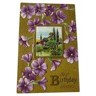 Violets Embossed Happy Birthday Postcard With Landscape Scene - Vintage Ephemera - Birthday Post Card - 1900s Postcard