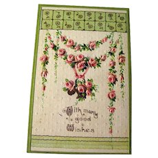 Floral Good Wishes Postcard - Embossed Post Card - Embossed Postcard - Flower Post Card - German Postcard - Art Deco Postcard