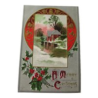 Christmas Scene Embossed Postcard With Holly and Gilded Silver Background - Vintage Ephemera - Christmas Post Card
