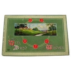 German Gel Postcard With Best Wishes Salutaion - Landscape Post Card - Vintage Ephemera - Art Nouveau Postcard