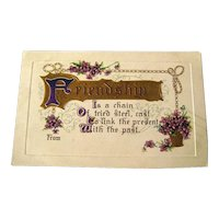 Friendship Postcard With Violets and Gold Gilded Accents - Vintage Ephemera - Friendship Post Card - Embossed Postcard - German Post Card